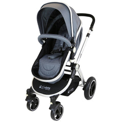 i-Safe System - Grey Trio Travel System Pram & Luxury Stroller 3 in 1 Complete With Car Seat + Footmuff + Carseat Footmuff + Rain Covers - Baby Travel UK  - 10
