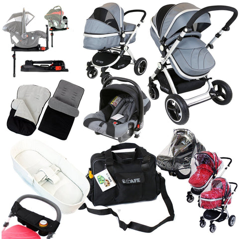 iSafe Complete Trio Travel System Pram & Luxury Stroller Grey