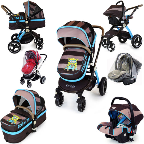 i-Safe System - i DiD iT Trio Travel System Pram & Luxury Stroller 3 in 1 Complete With Car Seat And Rain Covers