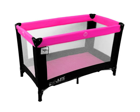 SALE!!! iSafe Rest & Play Luxury Travel Cot/Playpen - Raspberry (Black/Pink) 120 cm x 60 cm