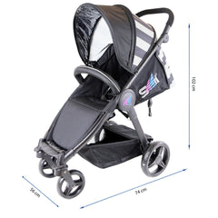 iSafe Sail Baby Stroller - Plum Purple Stripe - Baby Travel UK  - 10