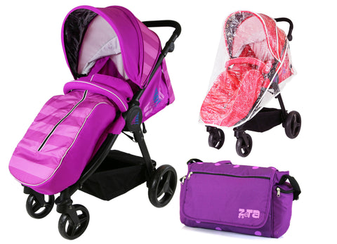 Sail Stroller - Plum Includes Bumper Bar Rain cover Bootcover & Bag
