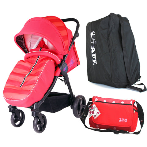 Sail Stroller - Red Includes Bag, Boor Cover, Travel Bag, Rain Cover, Bumper Bar