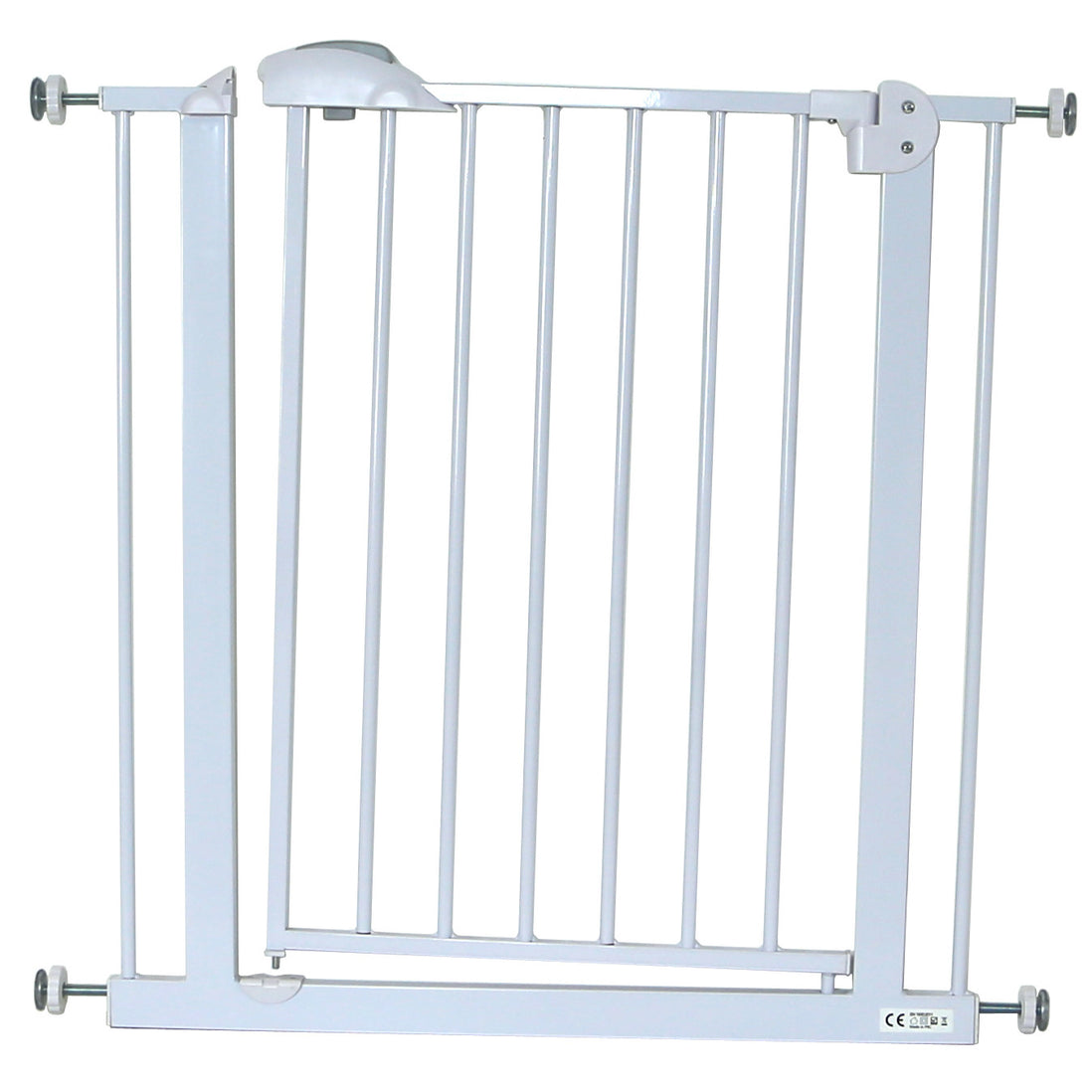 Stair Metal Gate Safety Baby Toddler Simply Auto Close Door Pressure Fit White
