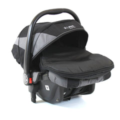 iSafe Tandem Pram me&you - 2 Tone Black (Black) With Car Seat And 3 Foot Muff - Baby Travel UK  - 7