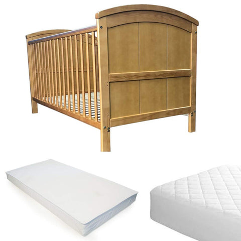 iSafe Cot Bed Toddler Bed - Liam (Antique) With Sprung Mattress