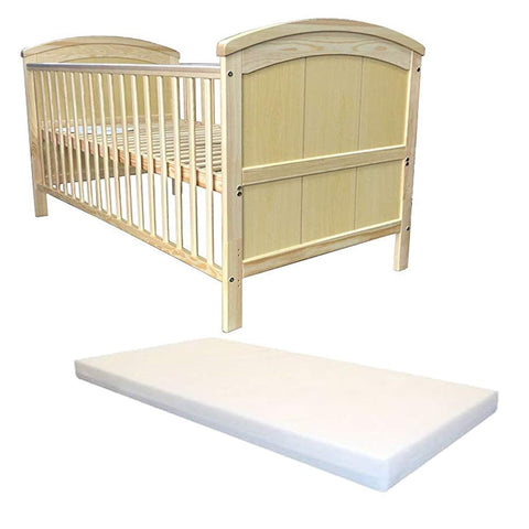 iSafe Cot Bed Toddler Bed - Liam (Natural Pine) FREE Foam 3 inch Mattress
