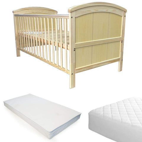 iSafe Cot Bed Toddler Bed - Liam (Natural Pine) With Sprung Mattress