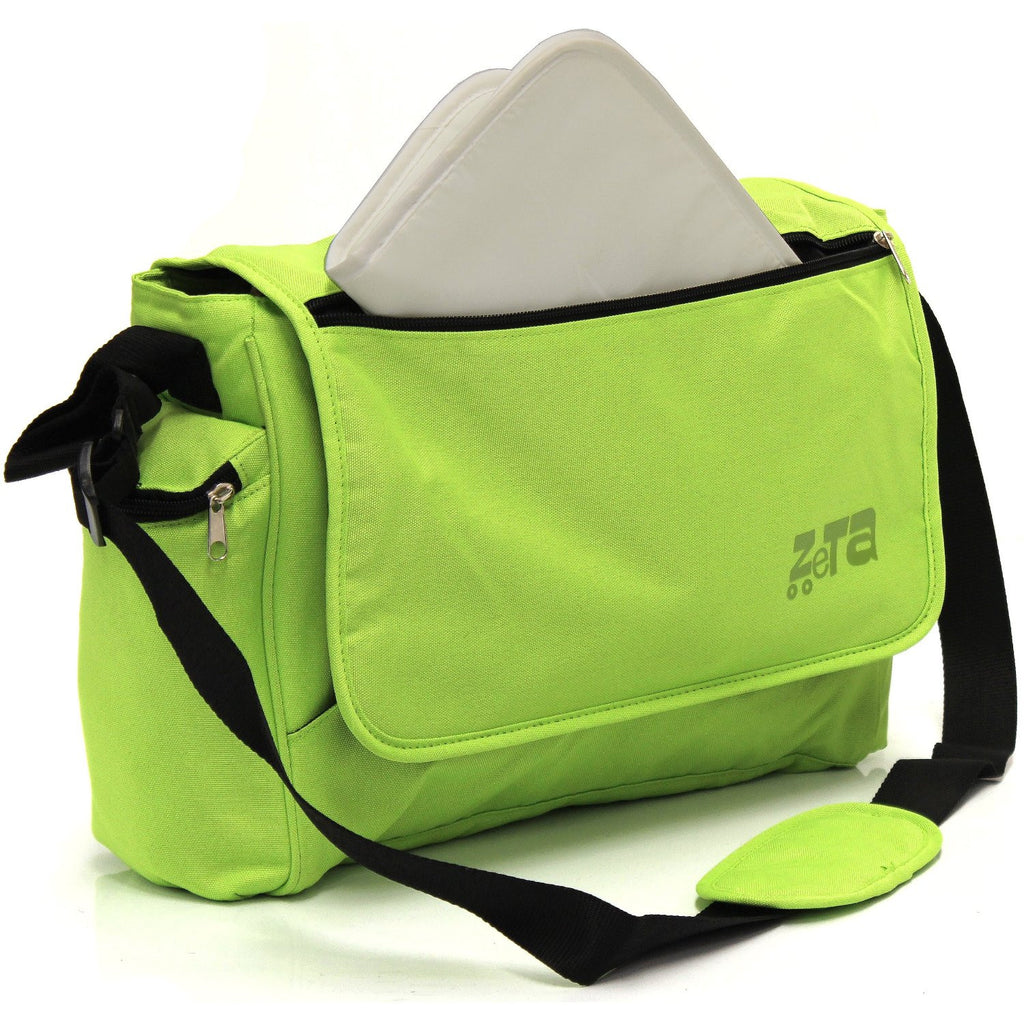 Baby Travel Zeta Changing Bag Plain LIME Complete With Changing Matt - Baby Travel UK  - 1