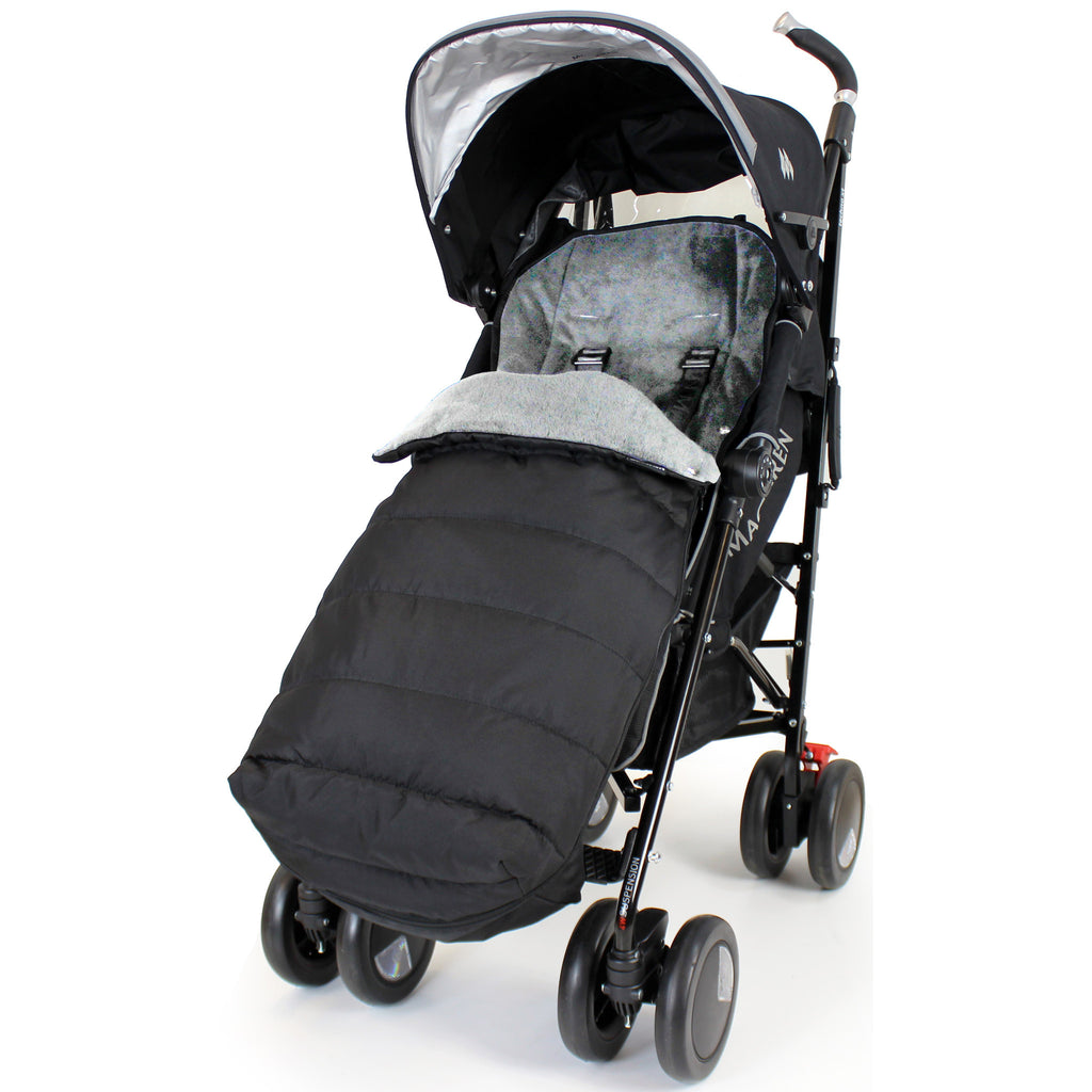 XXL Large Luxury Foot-muff And Liner For Maclaren Techno XT - Black/Grey - Baby Travel UK  - 1