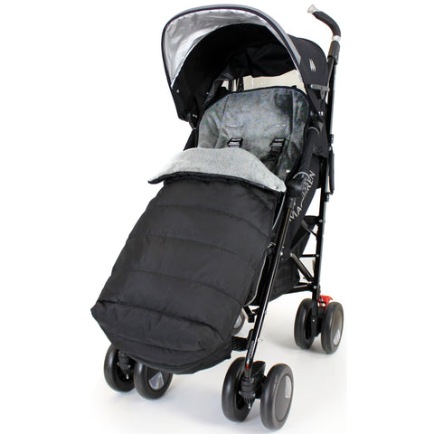 Deluxe 2 In 1 Stroller Pushchair Buggy Footmuff - Black/Grey To Fit Maclaren