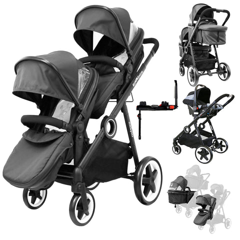 iSafe Me&You INLINE Black Tandem - With Second Seat, Car Seat & Isofix Base