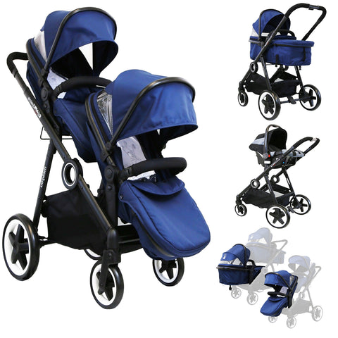 iSafe Me&You INLINE Royal Blue - With Second Seat & X2 iSafe Car Seats