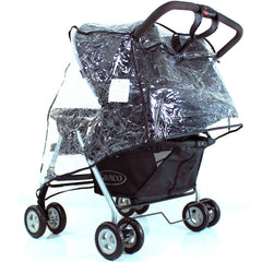 New Rain Cover Tofit Hauck Roadster 11 Duo Sl Twin Pram - Baby Travel UK  - 2