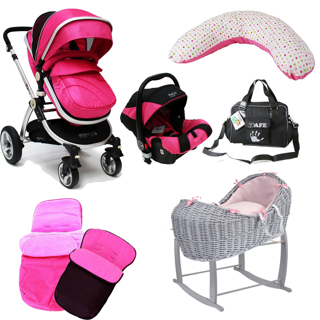 iSafe Pink 3 In 1 Bundle Package, Including Noah Pod + Nursing Pillow + Bag + Footmuffs