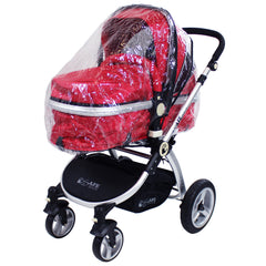 i-Safe System - Bow Dots Trio Travel System Pram & Luxury Stroller 3 in 1 Complete With Car Seat, Base, Bag, Bedding,Console Rain Covers & Foot Muffs - Baby Travel UK  - 46