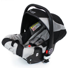 iSafe Me&You 2in1 With iSafe Car Seat & X2 Footmuffs & Rain Covers - BLACK