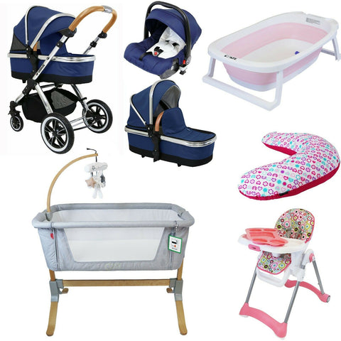 7 Piece Bundle 3 in 1 Pram, Bedside Crib, Highchair, Nursing Pillow, Baby Bath - Royal Blue