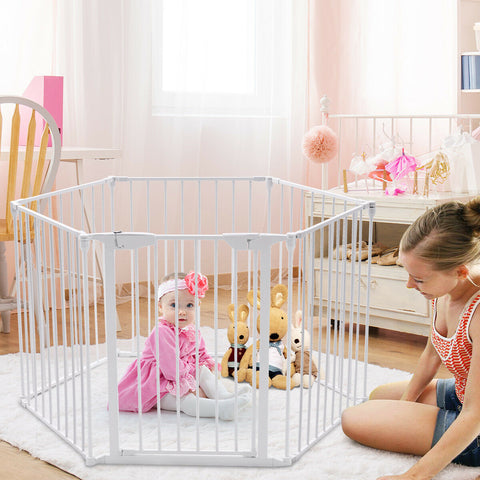 Baby Playpen 3 in 1 Fire Guard Room Divider Safety Gate (Metal)