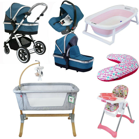 7 Piece Bundle 3 in 1 Pram, Bedside Crib, Highchair, Nursing Pillow, Baby Bath - Teal