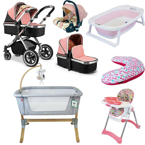 7 Piece Bundle 3 in 1 Pram, Bedside Crib, Highchair, Nursing Pillow, Baby Bath - Peach