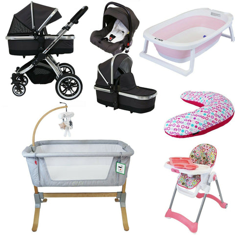 7 Piece Bundle 3 in 1 Pram, Bedside Crib, Highchair, Nursing Pillow, Baby Bath - Silver Shadow
