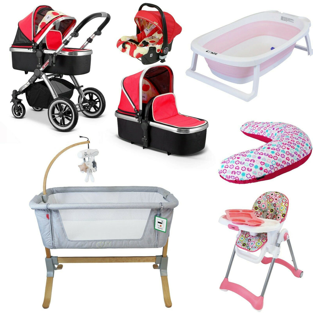 7 Piece Bundle 3 in 1 Pram, Bedside Crib, Highchair, Nursing Pillow, Baby Bath - Apple