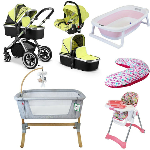 7 Piece Bundle 3 in 1 Pram, Bedside Crib, Highchair, Nursing Pillow, Baby Bath - Pears
