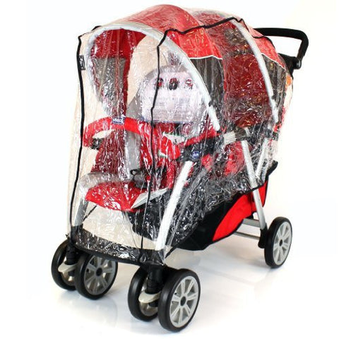 New Tandem Stroller Raincover For Chicco Together Travel System & Pram Mode