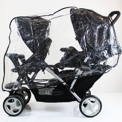 Graco Stadium Duo Tandem Double Raincover Universal Design Rain Cover - Baby Travel UK  - 1