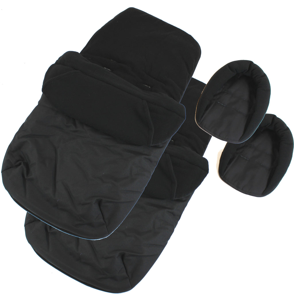 X2 Luxury Footmuffs And Liner With Head Support Black For Cosatto Ditto Twin Stroller - Baby Travel UK  - 1