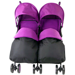 Zeta Citi TWIN Stroller Buggy Pushchair - Plum (Purple) Double Stroller Complete With FootMuffs And Bag - Baby Travel UK  - 3