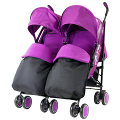 Zeta Citi TWIN Stroller Buggy Pushchair - Plum (Purple) Double Stroller Complete With FootMuffs And Bag - Baby Travel UK  - 2