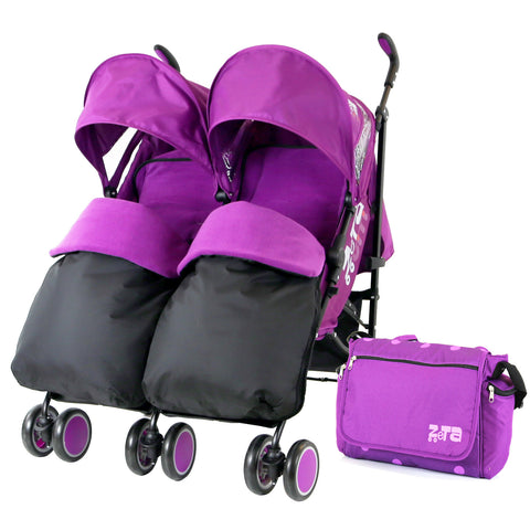 Zeta Citi TWIN Stroller Buggy Pushchair - Plum (Purple) Double Stroller Complete With FootMuffs And Bag