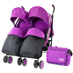 Zeta Citi TWIN Stroller Buggy Pushchair - Plum (Purple) Double Stroller Complete With FootMuffs And Bag - Baby Travel UK  - 1