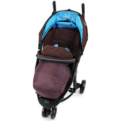 Deluxe 2 In 1 Footmuff Cosytoes Liner To Fit Mamas & Papas Luna - Brown - Baby Travel UK  - 1