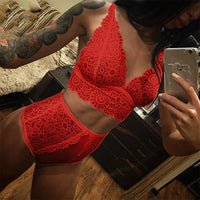 Transparent Underwear Set Women Lace Sexy Bra Set Seamless Embroidery Bralette Erotic Lingerie Fashion Black White Red