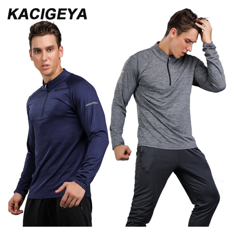 Men Sports Long T Shirts Quick-Dry Fitness Training Clothes Tennis Jogging basketball Fitness Tops Slim Fit Exercise Gym Sports