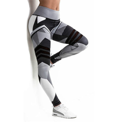 SVOKOR Fitness Leggings Black White Stitching Printing Legins mujer Summer Polyester Femme Stylish Breathable Leggins