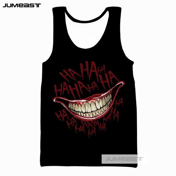 Jumeast Brand Fashion Funny HAHA Joker 3d Printed Men/Women Tank Tops Crazy Pattern Why So Serious Tee Sleeveless Unisex