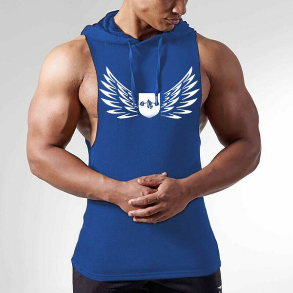 Newest Fashion Gym Hot Men Clothing Hoodie Stringer Bodybuilding Tank Top hooded Muscle Shirt