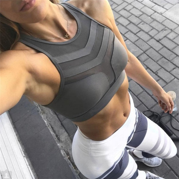 Sexy Sports Bra for Women Fitness Top Yoga Bra Plus Size Crop Top Mesh Running Bra Quick Dry Gym Workout Breathable Underwear