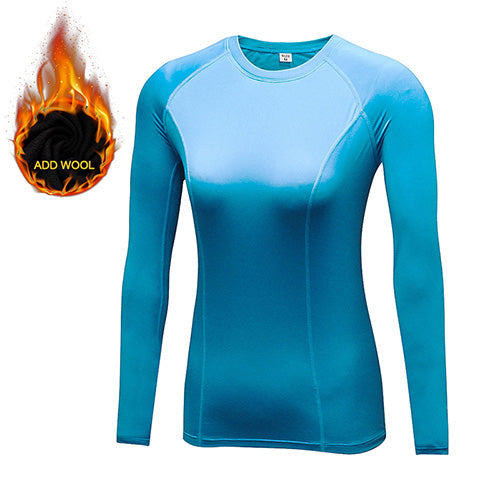 New Women Winter Yoga Shirts Gym Thermal Warm Fleece Pants Long Sleeve T-shirts Sportswear Add Wool Running Tight Clothes