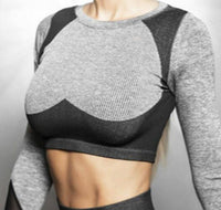 Winter Seamless 2 Piece Tracksuit Women Sport Suit Gym Workout Clothes Long Sleeve Fitness Crop Top Scrunch Leggings Yoga Set