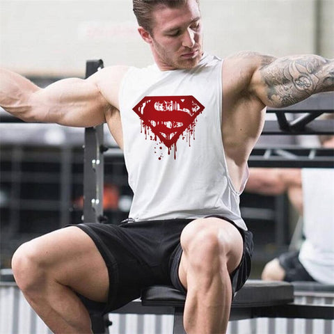 Gym Clothing Bodybuilding Fitness Men Tank Top workout Superman Vest muscle sportswear Undershirt sleeveless shirt