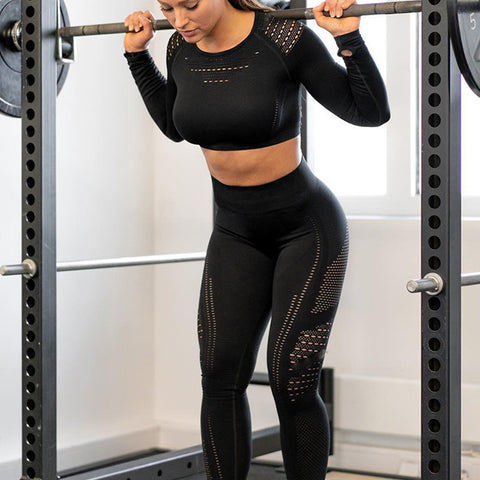 Black Seamless Sports Set For Women Gym Fitness Sports Yoga Pants And Shirts 2 pieces