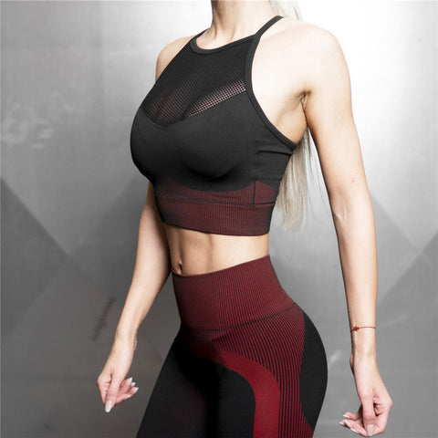 Mesh High Quanlity seamless sports bra racer back gym bra workout yoga bras fitness gym crop top push up Yoga bras