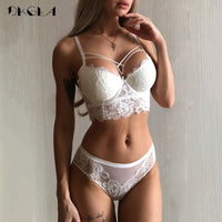 New Top Sexy Underwear Set Green Bras Cotton Brassiere Women Lingerie Set Lace Embroidery Push up Bra Panties Sets Deep V Gather