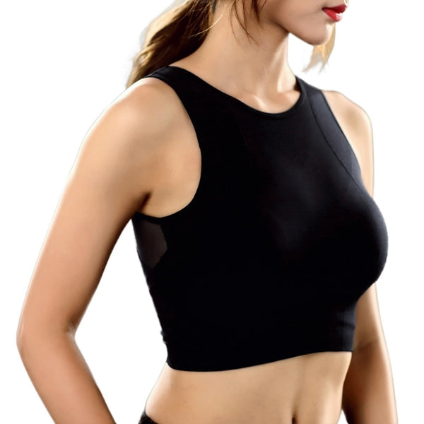 *Women Sport Bra Top Black Underwear Padded Seamless Yoga Fitness Sports Mesh Tank Female Vest Push Up Cotton Solid Gym Tops*