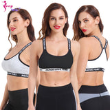 SEXYWG Top Sports Bra Fitness Free Size Letter Yoga Bra Women Gym Running Push Up Top Female Sport Bra Bh Workout Underwear ABCD